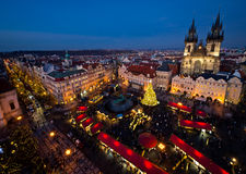 Old Town Square in Prague during Christmas season Stock Images