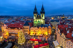 Old Town Square in Prague at Christmas time. Stock Photo