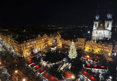 Old town square in Prague at Christmas time royalty free stock image