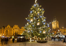 Old town square in Prague at Christmass time. Night Royalty Free Stock Photos