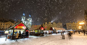 Old town square in Prague at Christmass time. Night Royalty Free Stock Image