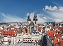 Old town square in Prague with Church of our lady before tyn Stock Images