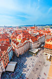 Old Town Square in Prague from Clock Tower. Stock Photo