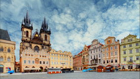 Old town square in Prague, Czech republic, Time lapse.  stock video footage