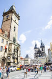 The Old Town square. In Prague, Czech Republic. With view of Astronomical clock and The Church of Our Lady Before Tyn Royalty Free Stock Photography