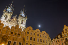 Old Town Square in Prague lit by the Moon Stock Photos