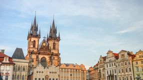 Old Town Square in Prague. With magnificent town houses and church stock photo