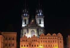 Old Town Square of Prague at night Stock Photography