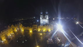 Old town square in Prague at night stock video footage