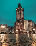 Old Town Square in Prague at night, toned image Stock Photos