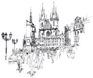 Old Town Square, Prague. Sketch Stock Photos