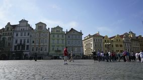 Old town square in Prague. Time lapse panoramic view of the old town square in Prague, Czech Republic stock video