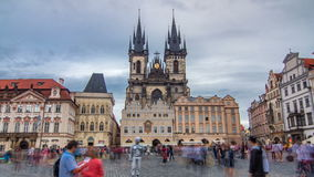 Old town square in Prague timelapse hyperlapse, Tyn Cathedral of the Virgin Mary and monument of Jan Hus. stock footage