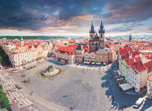 Old Town Square in Prague with Tyn church from Clock Tower. Kostel Panny Marie pred Tynem. Church of the Virgin Mary. Old Town Square in Prague with Tyn church Stock Image