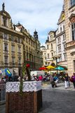 Easter Market on the Old Town Square in Prague in the Czech Republic. The Old Town Square in Prague which has a statue to Christian reformer Jan Hus, the church royalty free stock image