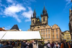 Easter Market on the Old Town Square in Prague in the Czech Republic. The Old Town Square in Prague which has a statue to Christian reformer Jan Hus, the church royalty free stock photos