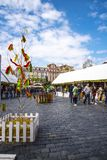 Easter Market on the Old Town Square in Prague in the Czech Republic. The Old Town Square in Prague which has a statue to Christian reformer Jan Hus, the church royalty free stock images