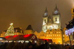 The Old Town Square in Prague at winter night Royalty Free Stock Photos