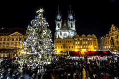 Old Town Square in Prague. Winter shot of the best known square in Prague royalty free stock photos