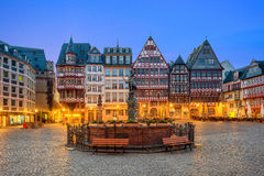 Old town square romerberg with Justitia statue in Frankfurt Germ Stock Photos