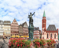 Old town square romerberg with Justitia statue. In Frankfurt Germany Royalty Free Stock Photo