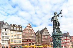 Old town square romerberg with Justitia statue. In Frankfurt Germany Stock Photo