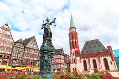 Old town square romerberg with Justitia statue. In Frankfurt Germany Stock Images