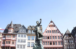 Old town square romerberg. With Justitia statue in Frankfurt Germany Stock Photos