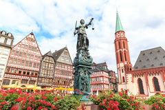 Old town square romerberg with Justitia statue. In Frankfurt Germany Royalty Free Stock Photos