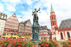 Old town square romerberg with Justitia statue. In Frankfurt Germany Stock Photography