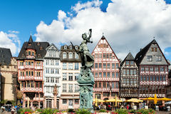 Old town square romerberg with Justitia statue in Frankfurt. Image of Frankfurt, Germany - old town square romerberg with Justitia statue in Frankfurt, Germany Stock Photo