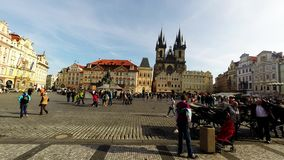 Old Town Square(Staromestske)  is a historic square   of Prague in the Czech Republic. October 2014, Old Town Square(Staromestske)  is a historic square   of stock footage