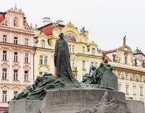 Old Town Square Staromestske namesti, Jan Hus monument. Prague stock photos