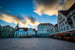 Old Town Square at sunset, in Tallinn, Estonia. stock photography