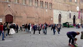 On the old town square timelapse. Siena, Italy stock video