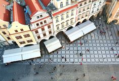 Old Town square with tourist crowd in Prague Stock Photo