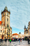 Old Town Square with tourists in Prague Stock Image