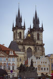 Old Town Square, Tyn Cathedral of the Virgin Mary, monument of Jan Hus, Prague Stock Photo