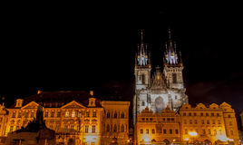 Old Town square and Tyn Church. Old Town square in Prague with The Tyn Church royalty free stock images