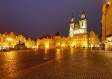 Old town square with Tyn church Royalty Free Stock Photos