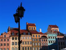 Old town square in Warsaw, Poland. Houses at the old town square in the historical center of Warsaw, beautifully rebuilt after total destruction during WWII. On Stock Photography