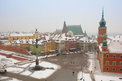 Old town square in winter, Warsaw, Poland. Colorful old town square in winter, Warsaw, Poland royalty free stock images