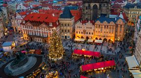 Old town squate of Prague before Christmas. Royalty Free Stock Images