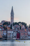 Old Town and St. Euphemia's Church at dusk, Rovinj, Istria, Croatia, Adriatic, Europe Royalty Free Stock Image