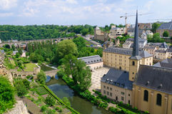 Old town and St.Jean Baptiste in the City of Luxembourg Royalty Free Stock Images