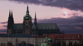 Old town. St. Vitus Cathedral in Prague. Sunset. Timelapse stock video