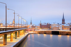 Old Town Stockholm city at dusk Sweden Royalty Free Stock Images