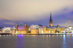 Old Town Stockholm city at Night Sweden Stock Photos