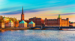 Old Town in Stockholm, Sweden. Scenic summer panorama of the Old Town (Gamla Stan) architecture pier in Stockholm, Sweden Stock Photos