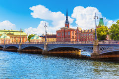 Old Town in Stockholm, Sweden. Scenic summer panorama of the Old Town (Gamla Stan) architecture pier in Stockholm, Sweden Royalty Free Stock Photography